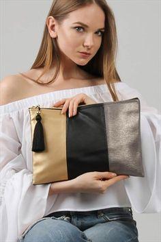 Chiccy Kadın Goldsiyah Ve Füme Üç Parçalı Vegan Clutch Diy Clutch, Clutch Bag, Diy Bags Tutorial, Arabian Women, Leather Wallet Pattern, Sacs Design, Patchwork Bags, Leather Bags Handmade, Small Bags