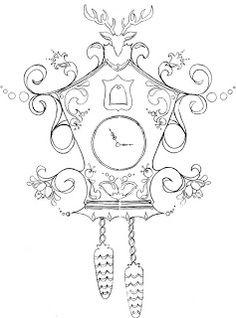twin fibers: Cuckoo Clock fabric design