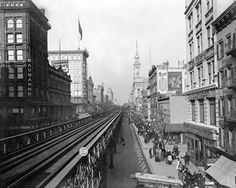 New York City elevated railway: Sixth Avenue up from Fourteenth Street, 1900