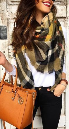 #winter #fashion / Printed Scarf / White Shirt / Black Skinny Jeans / Camel Leather Tote Bag
