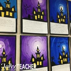 Halloween Art Project and Writing Piece – Tales From a Very Busy Teacher Halloween Kunst, Halloween Art Projects, Theme Halloween, Fall Art Projects, Classroom Art Projects, School Art Projects, Halloween Activities, Art Classroom, Art Activities