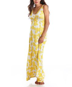 Take a look at this Yellow Dot Maternity Maxi Dress by Lilac Maternity on #zulily today!