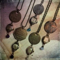 Repurposed watch necklaces. Jeanette Janson.