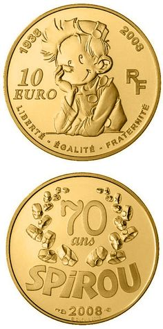 N♡T.10 euro: Spirou .Country:France Mintage year:2008 Face value:10 euro Diameter:22.00 mm Weight:8.45 g Alloy:Gold Quality:Proof Mintage:500 pc proof