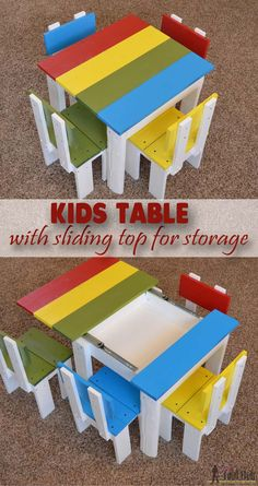 Free plans to build an easy kids table with sliding top for storage.
