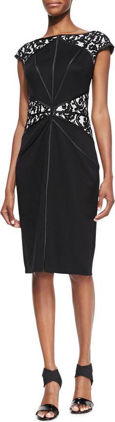 Tadashi Shoji Cap-Sleeve Lace-Inset Cocktail Dress, Black/Nude     Jersey cocktail dress by Tadashi Shoji with lace insets.     Bateau neckline.     Cap sleeves.     Sheath silhouette.     Hidden back zip.     Rayon/nylon/spandex.     Imported. Price : $225.00