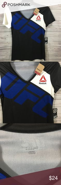 New! UFC Reebok Jersey Women's Size Medium NWT! UFC Reebok Jersey Women's Size Medium. Black with red, white and blue graphics. Produced by Fanatics. Reebok Tops Tees - Short Sleeve