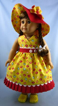 American Girl Doll Clothes   Sundress and Hat by SewMyGoodnessShop,