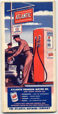 Retro Road Maps: Atlantic Refining Company  (.....I remember going into the gas station when I was about 8 years old to put my penny into the ball gum machine and above it were many maps....I loved maps and the guy let me have a couple)