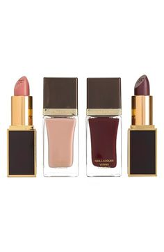 Luxurious nude/berry nail and lip color set.