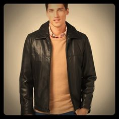 Men's Tommy Hilfiger Leather Jacket Classic Hilfiger leather zip-front jacket. Add style to jeans or business wear! Fully lined. Very gently worn. Tiny leather imperfection on back. See last photo. Priced accordingly! Tommy Hilfiger Jackets & Coats