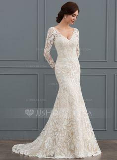 Trumpet/Mermaid V-neck Sweep Train Lace Wedding Dress - Wedding Dresses - JJ's House Luxury Wedding Dress, Modest Wedding Dresses, Wedding Wear, Wedding Suits, Bridal Dresses, Lace Wedding, Church Wedding, Vestidos Vintage, Vintage Dresses