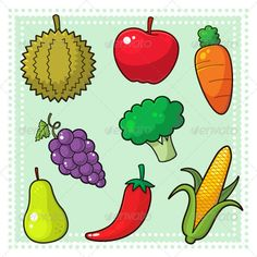 Fruits & Vegetables 01  #GraphicRiver         Image of nature products, fruits and vegetables. EPS8 vector file.      Created: 28January13 GraphicsFilesIncluded: VectorEPS Layered: Yes MinimumAdobeCSVersion: CS Tags: Chartreuse #Durian #Glaucous #agriculture #apple #broccoli #carrot #cartoon #chilli #corn #farm #foods #fruits #grapes #green #illustration #orange #organicfoods #pear #pepper #purple #red #vector #vegetables #yellow