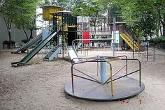 What you see above is the type of playground that was common before the 1990s – the type of playground that is both awesome, and able to harm children in many grizzly ways – a feature which makes it doubly awesome.