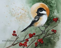 Original christmas Painting Christmas bird artwork Original Brown 8x10 BOGO Sale) in Black chickadee art Christmas bird green red. $300.00, via Etsy.