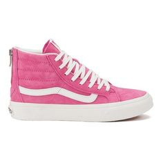 Vans Women's SK8-Hi Slim Zip Scotchgard Hi-Top Trainers ($97) ❤ liked on Polyvore featuring shoes, sneakers, pink, high top sneakers, pink shoes, lace up sneakers, flat shoes and high top zipper sneakers