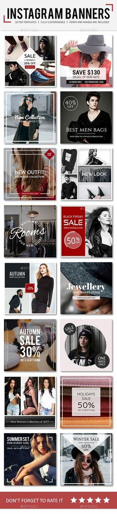 Instagram Promotional Design Templates - Social Media Web Elements Design Template PSD. Download here: https://graphicriver.net/item/instagram-promotional-templates/19369548?ref=yinkira