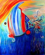 """Fantasy Fish"" 8"" x 10"" Acrylic Art Print Matted"