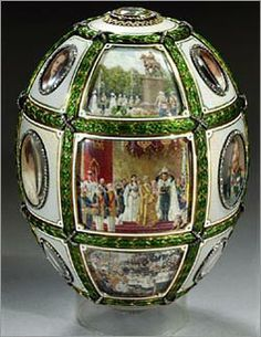 FIFTEENTH ANNIVERSARY EGG, 1911.Made to commemorate the 15th anniversary of Tsar Nicholas II's accession to the throne, the egg presented in 1911 to Tsarina Alexandra shows, in its exterior, 18 superbly painted scenes illustrate the principal events of Tsar Nicholas II and Tsarina Alexandra's reign as well as individual portraits of the recipient, her husband and their 5 children. The dates 1894 and 1911 are set beneath the portraits of the Tsarina and the Tsar.