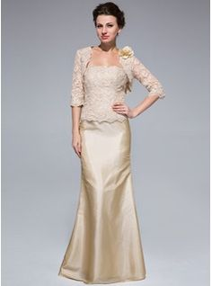 Mermaid Strapless Floor-Length Taffeta Lace Mother of the Bride Dress With Beading