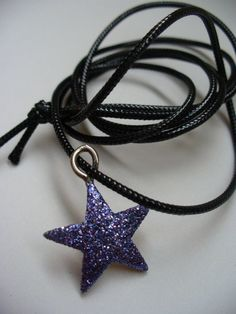 Holiday Hanukkah Star Blue Glitter Necklace by kzannoart on Etsy, $8.00