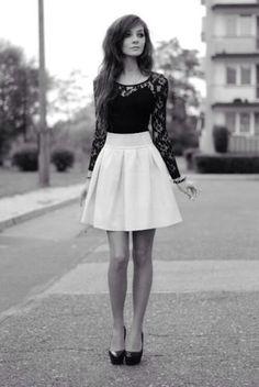 shirt skirt blouse black lace shirt black sleeves material tight dress skater skater skirt white white skirt cute cute skirt cute skirts black lace long sleeve lace dress