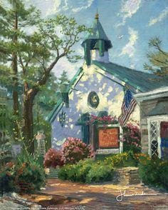 "Church of the Wayfarer by Thomas Kinkade  ""Pause in your travels ye wayfarer, and celebrate the Lord in the beauty of His creation.""    That is the invitation Carmel's Church of the Wayfarer has offered countless visitors since its construction in 1904.  Thomas Kinkade"