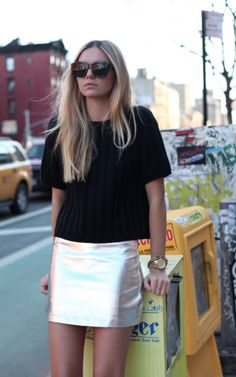 silver skirt- street style- Jessica...I want your closet.