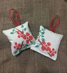 Red Flowers | Handmade Pillow Ornament | Christmas Decor | Christmas Ornaments
