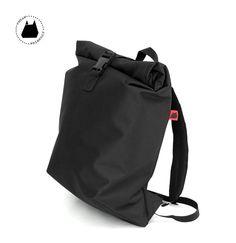ROLLTOP grand polochon sac à dos PVC noir  sac à dos par RedElkShop