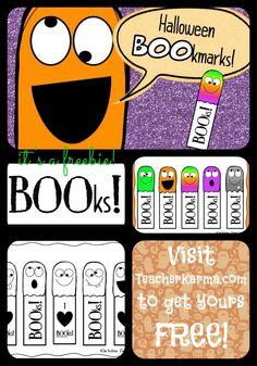 FREE Halloween BOOkmarks.  TeacherKarma.com