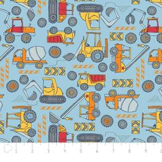 Blue Construction and Diggers soft flannel. Vehicles and Trucks by Camelot. Quality 100% brushed Cotton Fabric