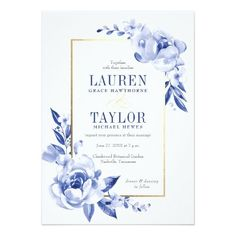 Blue Watercolor Flowers Wedding Invitation #weddinginvitation