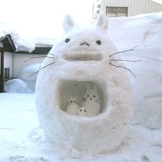 Totoro in the Snow! Yep they don't just do snowmen they go way beyond that