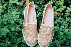 Comfortable wedding shoes - Sparkly + gold flat bridal sneakers {Marisa McDonald Photography}