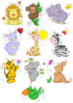 Zoo Friends Embroidery Collection. The Quiltery.........Cute little fellows.
