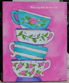 whimsy art studio: a stack of teacups