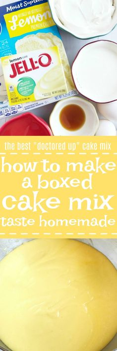 """his is the best way to make a boxed cake mix taste homemade! Use a convenient & inexpensive boxed cake mix along with a few staple pantry ingredients to """"doctor up"""" the cake mix. The result will be a perfectly moist, fluffy, rich cake that tastes like it Vanilla Cake Mixes, Lemon Cake Mixes, Vanilla Frosting, Buttercream Frosting, Köstliche Desserts, Dessert Recipes, French Desserts, Plated Desserts, Nake Cake"""