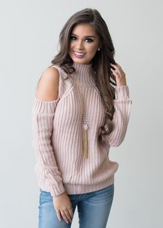 The Last Time Open Shoulder Knit Sweater Top Pink - Modern Vintage Boutique Modern Vintage Boutique, Trendy Fashion, Fashion Trends, Trendy Tops, Boutique Clothing, Passion For Fashion, What To Wear, Pink, My Style