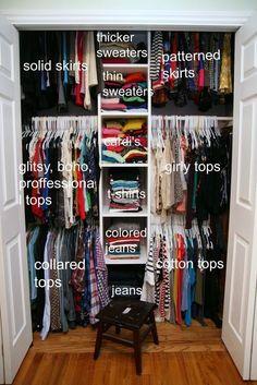 Use proven Closet Organization hacks to setup your master closet. These Closet Organization hacks can help you to de-clutter your home. Master Closet, Closet Bedroom, Bedroom Storage, Tiny Closet, Diy Bedroom, Boys Closet, College Closet, Trendy Bedroom, Bedroom Hacks
