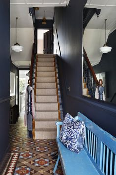 Tiffany Duggan is a natural creative talent. Starting her own interior design studio in Studio Duggan, has grown from. Edwardian Staircase, Edwardian Hallway, Edwardian Haus, Dark Blue Hallway, White Hallway, Tiled Hallway, Eclectic Design, Interior Design, Hallway Colours