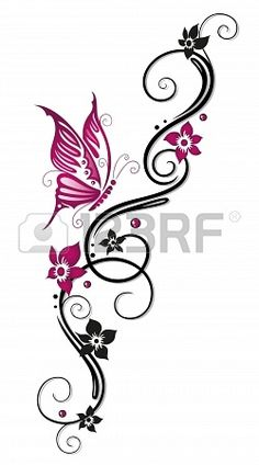 Floral tribal, tattoo in black and pink