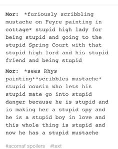 Mor drawing mustaches on the Feyre and Rhys paintings. A Court of Mist and Fury by Sarah J. Maas.