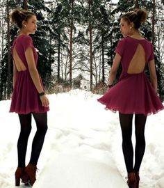Burgandy winter formal dress, black tights, and red boot pumps