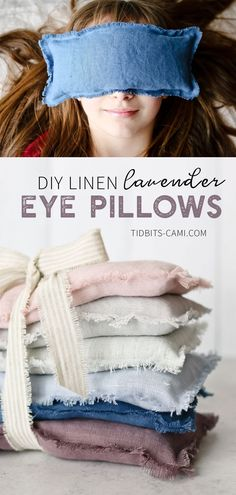 diy pillows Learn how to make Linen Lavender Eye Pillows. Close your eyes, breath it in, and enjoy the relaxing benefits of lavender! Great for eye or head tension. Warm them up or cool them in the freezer. Filled with flax seed and lavender buds. Sewing Hacks, Sewing Tutorials, Sewing Crafts, Sewing Tips, Sewing Ideas, Sewing Projects For Beginners, Diy Projects, Lavender Crafts, Lavender Ideas