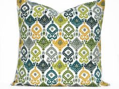Green Ikat Pillow Cover Teal Gray Mustard Chartreuse Green Blue Decorative Repurposed 18x18