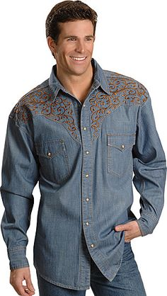 Panhandle Slim, embroidered denim retro Western shirt