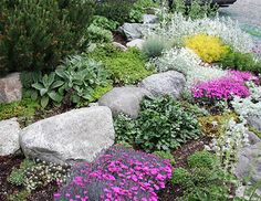 Large rocks and perennials make for a good solution to many problems, not to mention being quite attractive and easy to keep.