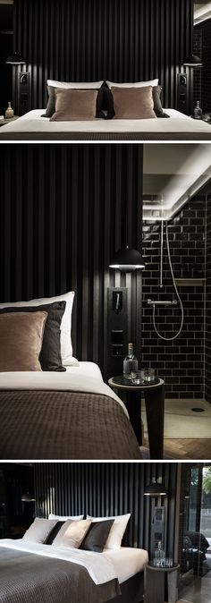 trendy bedroom ideas for small rooms black accent walls Bedroom Black, Small Room Bedroom, Trendy Bedroom, Bedroom Colors, Small Rooms, Bedroom Decor, Bedroom Ideas, Bedroom Lamps, Wall Lamps