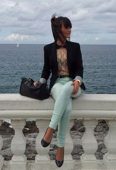 mint pants, flats, blazer... & is that a peter pan collar I see?!